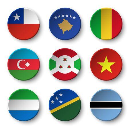 Set of world flags round badges ( Chile . Kosovo . Mali . Azerbaijan . Burundi . Vietnam . Sierra Leone . Solomon Islands . Botswana )