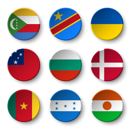 Set of world flags round badges ( Comoros . Democratic Republic of the Congo . Ukraine . Samoa , Bulgaria . Denmark . Cameroon . Honduras . Niger ) Illustration