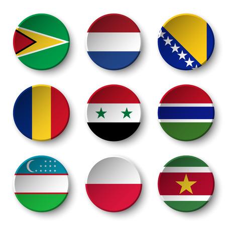 gambia: Set of world flags round badges ( Guyana . Netherlands . Bosnia and Herzegovina . Romania . Syria . Gambia . Uzbekistan . Poland . Suriname ) Illustration