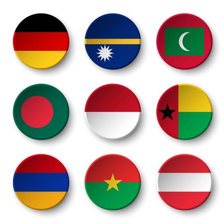 Set of world flags round badges ( Germany . Nauru . Maldives . Bangladesh . Indonesia . Guinea-Bissau . Armenia . Burkina Faso . Austria )
