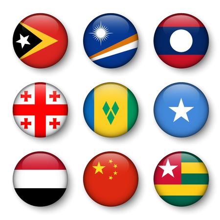 Set of world flags round badges ( East Timor . Marshall Islands . Laos . Georgia . Saint Vincent and the Grenadines . Somalia . Yemen . China . Togo )