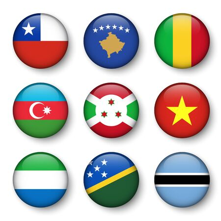 Set of world flags round badges ( Chile . Kosovo . Mali . Azerbaijan . Burundi . Vietnam . Sierra Leone . Solomon Islands . Botswana )