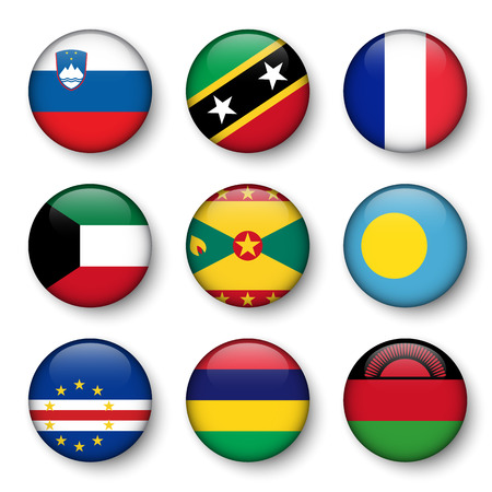 grenada: Set of world flags round badges ( Slovenia . Saint Kitts and Nevis . France . Kuwait . Grenada . Palau . Cape Verde . Mauritius . Malawi )