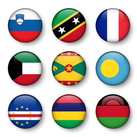 Set of world flags round badges ( Slovenia . Saint Kitts and Nevis . France . Kuwait . Grenada . Palau . Cape Verde . Mauritius . Malawi )