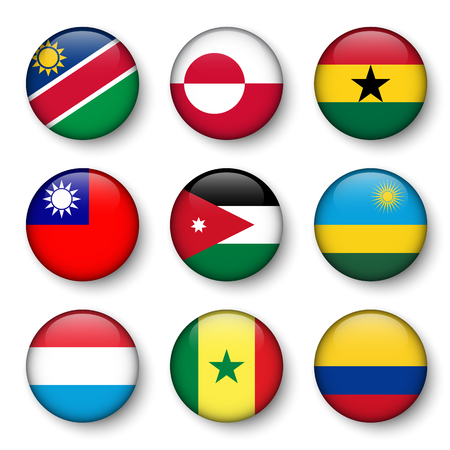 Set of world flags round badges ( Namibia . Greenland . Ghana . Taiwan . Jordan . Rwanda . Luxembourg . Senegal . Colombia )