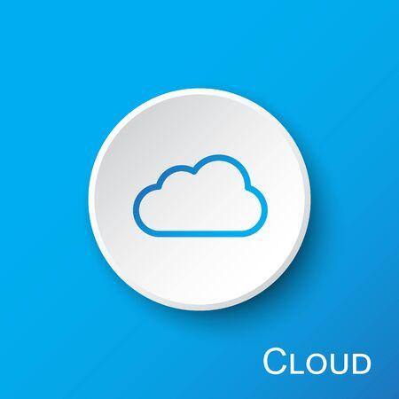 Cloud button on blue gradient background
