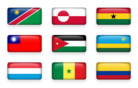 world flags: Set of world flags rectangle buttons ( Namibia . Greenland . Ghana . Taiwan . Jordan . Rwanda . Luxembourg . Senegal . Colombia )