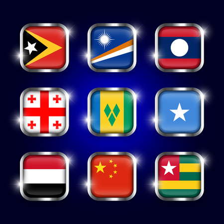 country flags: Set of world flags quadrangular glass buttons with steel border and twinkle ( East Timor . Marshall Islands . Laos . Georgia . Saint Vincent and the Grenadines . Somalia . Yemen . China . Togo ) Illustration