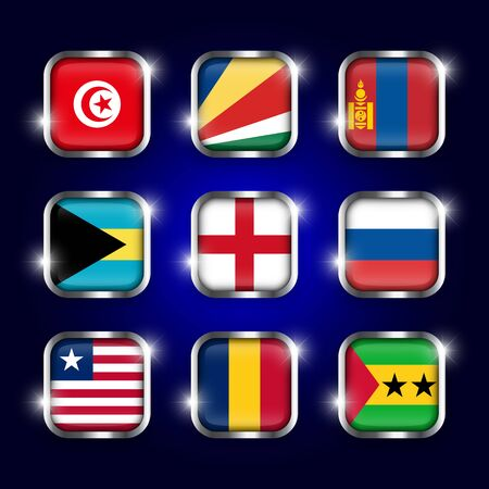 principe: Set of world flags quadrangular glass buttons with steel border and twinkle ( Tunisia . Seychelles . Mongolia . Bahamas . England . Russia . Liberia . Chad . Sao Tome and Principe )