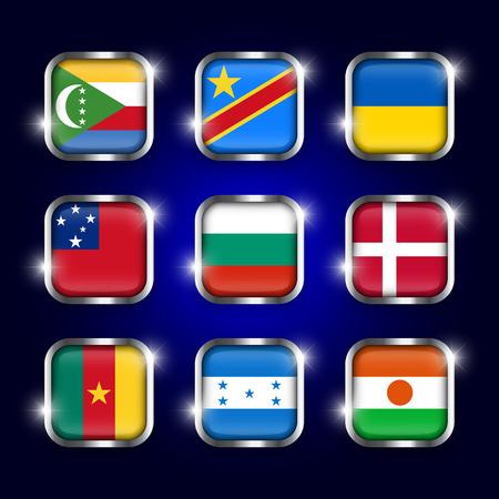 twinkle: Set of world flags quadrangular glass buttons with steel border and twinkle ( Comoros . Democratic Republic of the Congo . Ukraine . Samoa , Bulgaria . Denmark . Cameroon . Honduras . Niger )