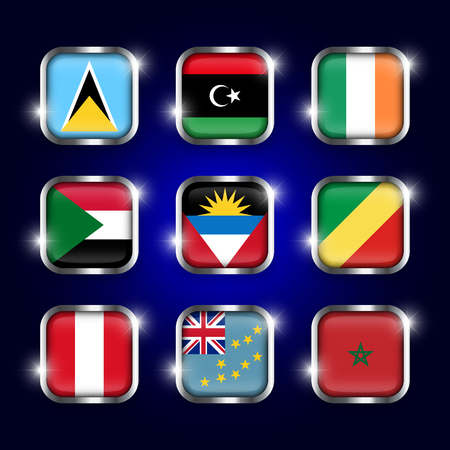 antigua: Set of world flags quadrangular glass buttons with steel border and twinkle ( Saint Lucia . Libya . ireland . Sudan . Antigua and Barbuda . Republic of the Congo . Peru . Tuvalu . Morocco )