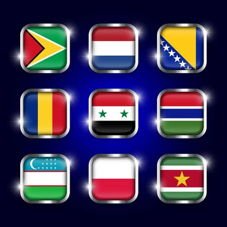 Set of world flags quadrangular glass buttons with steel border and twinkle ( Guyana . Netherlands . Bosnia and Herzegovina . Romania . Syria . Gambia . Uzbekistan . Poland . Suriname )