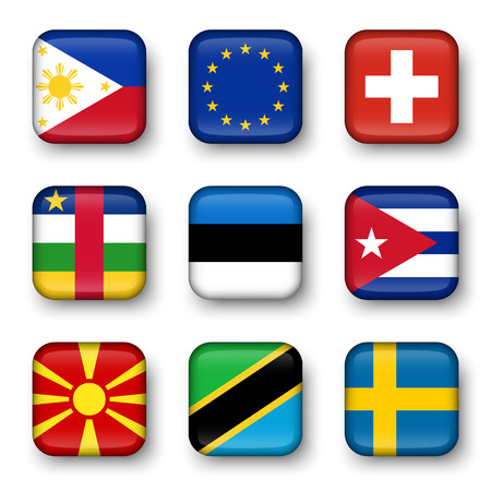 all european flags: Set of world flags quadrangular badges ( Philippines . European union (EU) . Switzerland . Central African Republic . Estonia . cuba . Macedonia . Tanzania . Sweden )
