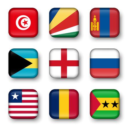 swell: Set of world flags quadrangular badges ( Tunisia . Seychelles . Mongolia . Bahamas . England . Russia . Liberia . Chad . Sao Tome and Principe ) Illustration