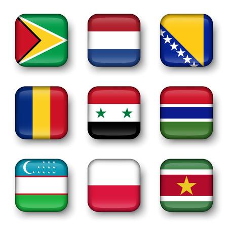 world flag: Set of world flags quadrangular badges ( Guyana . Netherlands . Bosnia and Herzegovina . Romania . Syria . Gambia . Uzbekistan . Poland . Suriname )
