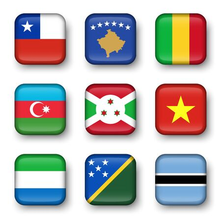bulge: Set of world flags quadrangular badges ( Chile . Kosovo . Mali . Azerbaijan . Burundi . Vietnam . Sierra Leone . Solomon Islands . Botswana )