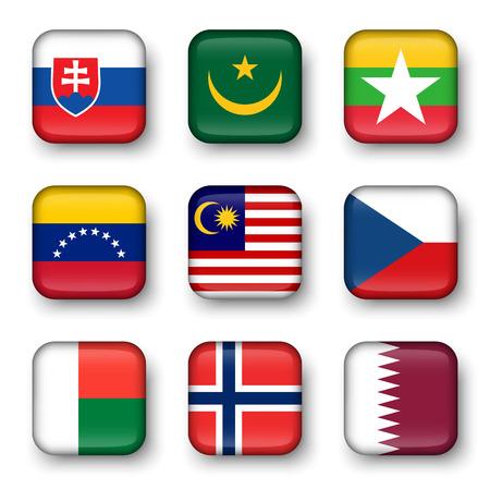 swell: Set of world flags quadrangular badges ( Slovakia . Mauritania . Myanmar . Venezuela . Malaysia . Czech . Madagascar . Norway . Qatar )