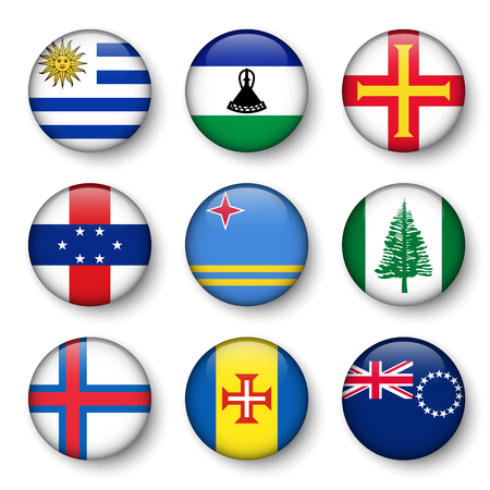 swell: Set of world flags round badges ( Uruguay . Lesotho . Guernsey . Netherlands Antilles . Aruba . Norfolk Island . Faroe Islands . Madeira . Cook Islands )