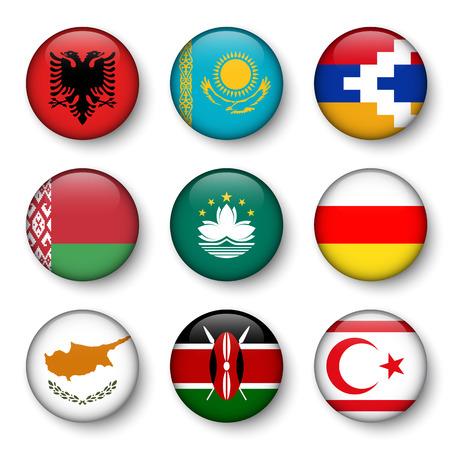 Set of world flags round badges ( Albania . Kazakhstan . Nagorno-Karabakh . Belarus . Macao . South Ossetia . Cyprus . Kenya . Northern Cyprus ) Illustration