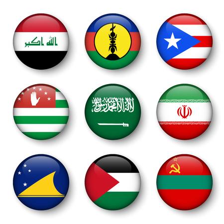 Set of world flags round badges ( Iraq . New Caledonia . Puerto Rico . Abkhazia . Saudi Arabia . Iran . Tokelau . Palestine . Transnistria ) Vector Illustration