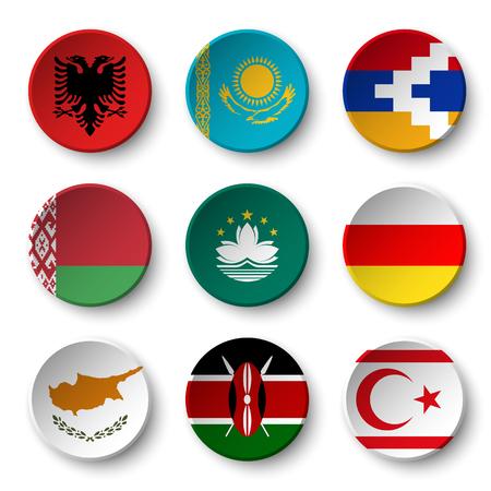 kazakhstan: Set of world flags round badges ( Albania . Kazakhstan . Nagorno-Karabakh . Belarus . Macao . South Ossetia . Cyprus . Kenya . Northern Cyprus ) Illustration
