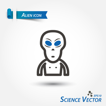 Alien icon . Scientific vector .