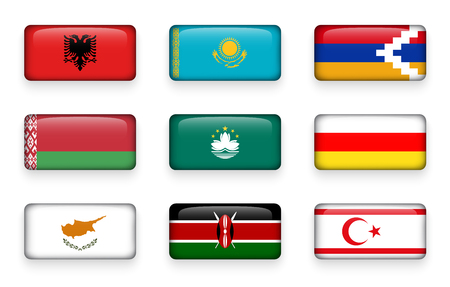 Set of world flags rectangle buttons ( Albania . Kazakhstan . Nagorno-Karabakh . Belarus . Macao . South Ossetia . Cyprus . Kenya . Northern Cyprus ) Illustration