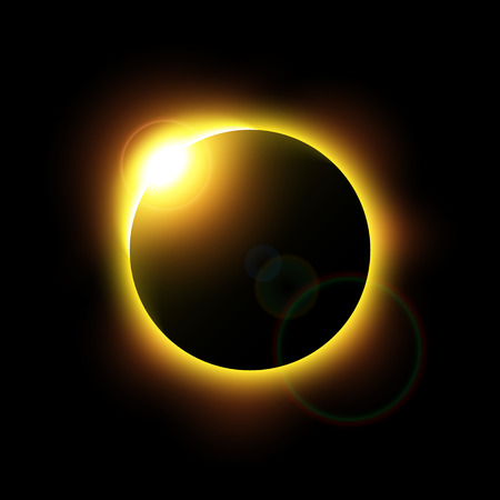Eclipse of the sun and flare . Vector . Vector Illustration