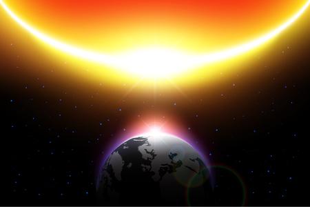 El sol se acerca a la tierra en el sistema solar. Concepto global cálido y Doomsday.