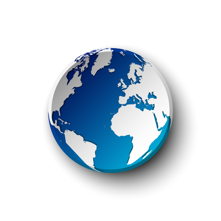 Blue earth badge and shadow . isolated . Illustration