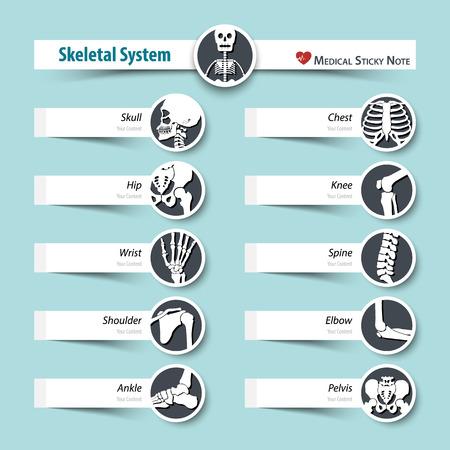 Knochenapparat . medizinische klebrige Notenart. flaches Design . Standard-Bild - 80110077