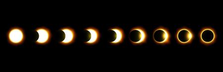 太陽と月の日食のさまざまな段階。ベクトル。