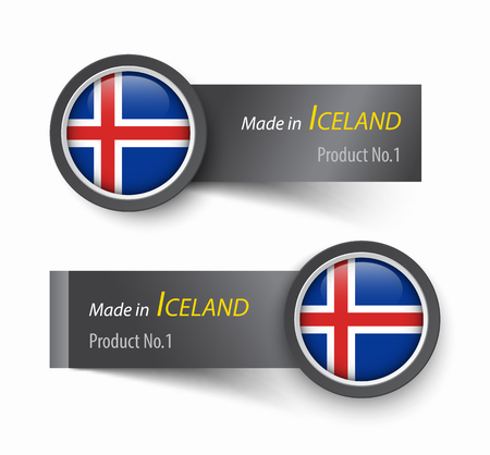 sheet of paper: Flag icon and label with text made in Iceland . Illustration
