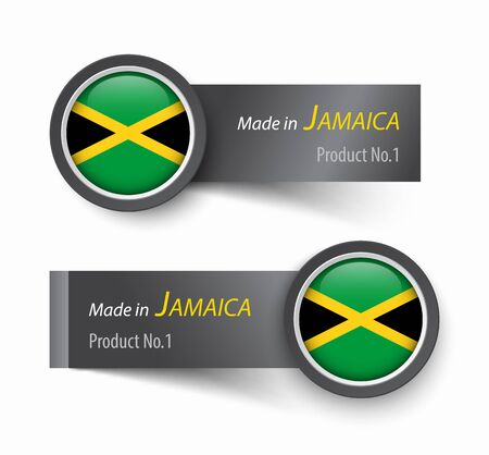 kingston: Flag icon and label with text made in Jamaica .