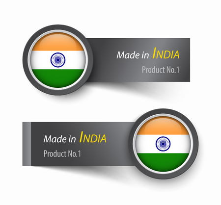 Flag icon and label with text made in India .