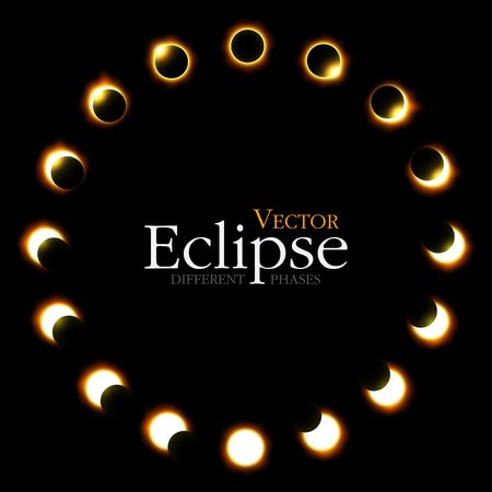 Verschiedene Phasen der Sonnen- und Mondfinsternis. Vektor Standard-Bild - 81042175