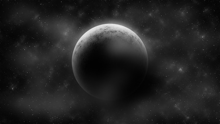 moonrise: Crescent moon on cloudy space . Abstract background . illustration Stock Photo