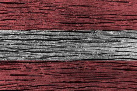 古い木製の背景の高詳細でオーストリアの国旗。3 D イラスト。