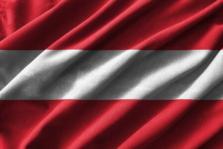 rumple: Austria flag painting on high detail of wave cotton fabrics . 3D illustration .
