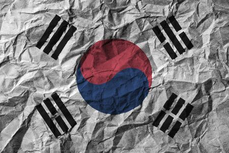 scrunch: South korea flag with high detail of crumpled paper . 3D illustration .