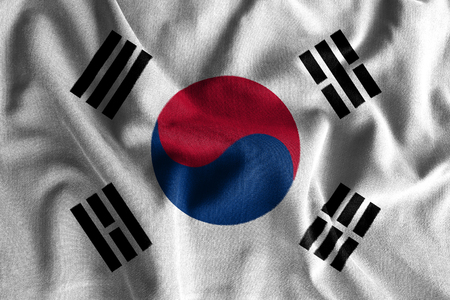 rumple: South korea flag painting on high detail of wave cotton fabrics . 3D illustration .