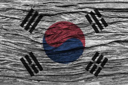 古い木製の背景の高詳細で韓国旗。3 D イラスト。