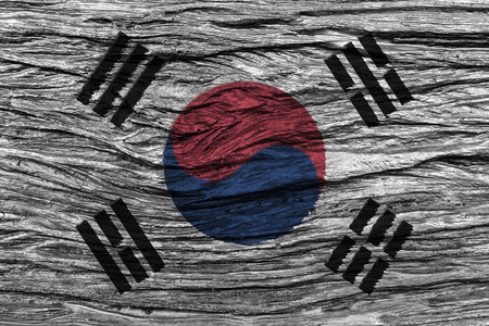 wrinkly: South korea flag with high detail of old wooden background . 3D illustration . Stock Photo