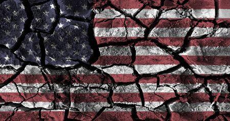 高詳細でアメリカ国旗の絵は、地面を割った。3 D イラスト。