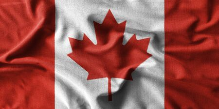 rumple: Canada flag painting on high detail of wave cotton fabrics . 3D illustration . Stock Photo