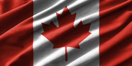 canadian flag: Canada flag painting on high detail of wave cotton fabrics . 3D illustration . Stock Photo