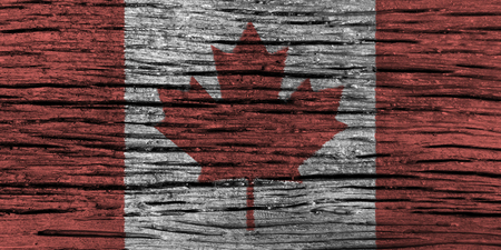 canadian flag: Canada flag with high detail of old wooden background . 3D illustration .