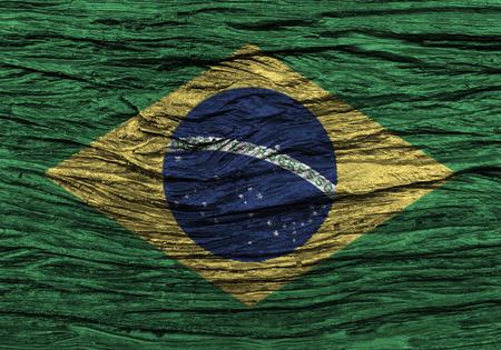 古い木製の背景の高詳細でブラジルの国旗。3 D イラスト。