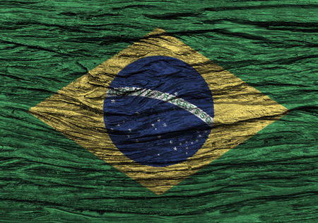 Brazil flag with high detail of old wooden background . 3D illustration .