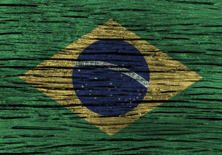 rumple: Brazil flag with high detail of old wooden background . 3D illustration .